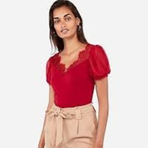 Express Red Lace V-Neck Puff Sleeve Top NWT